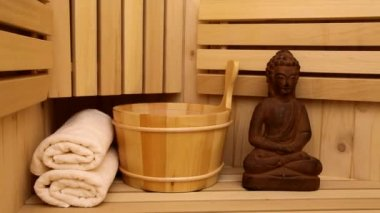 Sauna fayurveda symbols for relaxation and inner beauty ootage, — Stock Video