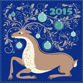Julkort med renar — Stockvektor