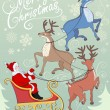 Greeting card with reindeers and Santa on sleigh — Stock Vector #58083195