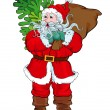 Santa Claus carrying a sack of gifts and a Christmas tree — Stock Vector #58897545