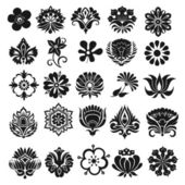 Set of graphical icons flowers — Stock Vector