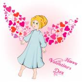 Valentine's Day greeting card with cupid — Stock Vector