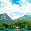 Summer nature landscape with house, forest and lake. — Stock Vector #52403193