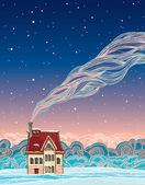 冬天。卡通房子和烟. — 图库矢量图片