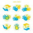 Set of icons with hands. Family. — Stock Vector #59299775