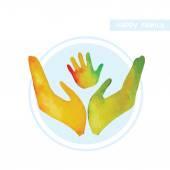 Family logo - handprint.  — Stock Vector