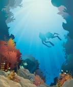 Coral reef, underwater cave and divers. — Stock Vector