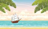 Sailboat and sea. Summer voyage. — Stockvector