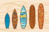 Vector set of surfboards. — Vector de stock
