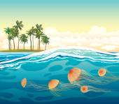 Jellyfish in the sea and island. Tropical seascape. — Stock Vector