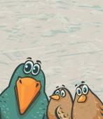 Cartoon birds - funny crow and sparrows — Stock Photo
