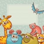 Cartoon animal - giraffe, bat, ram, sheep, lemur and fox. — Stock Vector #76439903