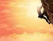 Rock climber and sunset. Sport. — ストックベクタ