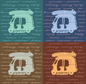Poster surfing - tuk tuk and surfboards. — Cтоковый вектор