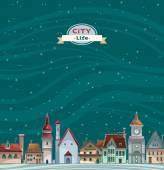 City view landscape. Urban vector. — Stock Vector
