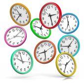 Colorful Clocks Falling Down — Foto Stock