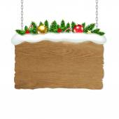 Wooden Sign With Fir Tree And Snow — ストックベクタ
