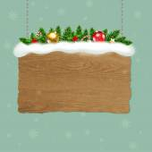 Wooden Sign With Fir Tree — ストックベクタ