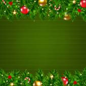 Dark Green Retro Card With Fir Tree — ストックベクタ