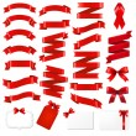 Red Ribbons Big Set — Stock Vector #60929983