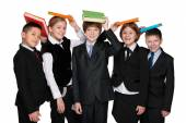 Group of happy students with books — Stock Photo