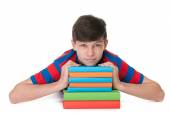 Teenager boy with books — Stock Photo