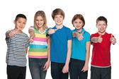Five happy children hold his thumbs up — Stock Photo