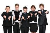 Upset children hold his thumbs down — Stock Photo