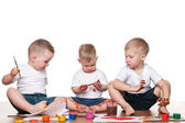 Painting three children — Foto Stock