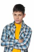 Upset teenager in a checked shirt — Stock Photo