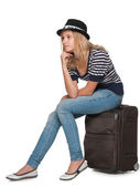 Pensive pretty traveler — Stock Photo