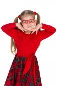 Adorable little girl in glassess — Stock Photo