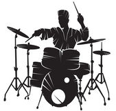 The musician playing drum setting — Stock Vector