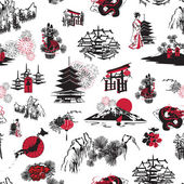 Seamless pattern Japanese New Year — Stock Vector