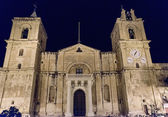 St. John Cathedral at night, Valletta, Malta — Stock Photo