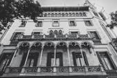 Facade of typical residential building in  Eixample district,  black and white, Barcelona, Spain — Stock Photo
