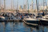 Yachts at the Port of Barcelona Harbor, Spain at the sunset — Stock Photo