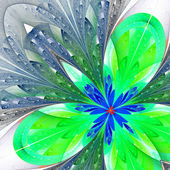 Beautiful fractal flower in green and blue. Computer generated g — Stock Photo