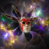 Surreal carnival mask and fractal pattern from a grid and bright — Stock Photo