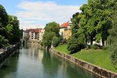 Ljubljana -Slovenia - city centre, view on the river — Stock Photo