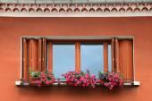 Window box flower arrangement — Stock Photo