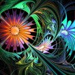Flower background. Blue and orange palette. Fractal design. Computer generated graphics. — Stok fotoğraf #53875597