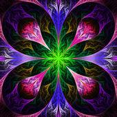 Flor hermosa fractal en negro, morado y verde. computadora ge — Foto de Stock