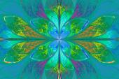 Multicolor beautiful fractal pattern on blue background. Compute — Stock Photo