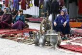 Ashgabat, Turkmenistan - February 26.  Three unidentified  Asian — Stock Photo