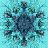Beautiful fractal flower in blue and gray. Computer generated gr — Stock Photo