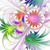 Flower background. Purple and green palette. Fractal design. Com — Stock Photo