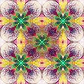 Pattern from fractal flowes in purple, green and yellow. Compute — Stock Photo