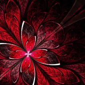 Symmetrical flower pattern in stained-glass window style. Red pa — Stock Photo