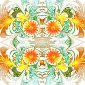 Flower pattern. Orange and green palette. Fractal design. Comput — Stock Photo